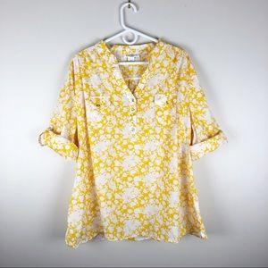 Susan Bristol Yellow White Floral Tab Slv Blouse